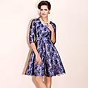 TS Vintage Style Jacquard Swing Dress With Lace Hem