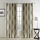 (Two Panels) Traditional Geometic Jacquard Polyester Room Darkening Curtains