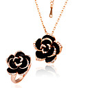 Gorgeous Rose 18K Gold Jewelry Set With Rhinestone Including Ring,Necklace (More Colors)