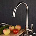 Contemporary Single Handle Brass Kitchen Faucet—Nickle Brushed Finish