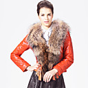 Unique Long Sleeve Raccoon Fur Collar Lambskin Leather Jacket with Down(More Colors)