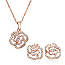 Crystal Flower Shaped 18K Gold Jewelry Set With Rhinestone Including Necklace,Earring