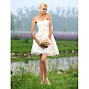 A-line Sweetheart Short/ Mini Tulle Over Satin Wedding Dress