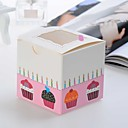Lovely Pink Pearl Card Cupcake Box - Set Of 12