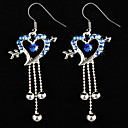 Classic Alloy Heart Design Crystal Drop Earrings