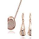 Simply 18K Gold Jewelry Set With Rhinestone Including Earring,Necklace (More Colors)