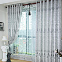 (Two Panels) Country Jacquard Floral Polyester Energy Saving Curtains