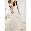 Luxury  A-line Strapless  Court Trains Lace  Organza Wedding Dresses for Bride (KT2002)
