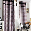 (Two Panels) Purple Floral Jacquard Room Darkening Curtains