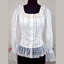 De manga larga de algodn blanco Country Lolita Blusa con Volantes De encaje