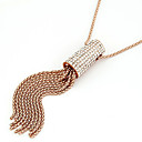 Women's Basic Diamond Tassels Bib Necklace
