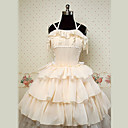 Sleeveless Knielanger Beige Cotton Princess Lolita Kleid