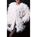 Long Sleeve Collarless Faux Fur Evening/Career Coat