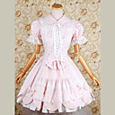 Short Sleeve Knee-length Pink Cotton Sweet Lolita Dress with Bow