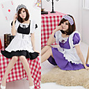 Cute Girl Black&Pink&Green&Purple Polyester Maid Suit with Lace (4 Colors)(3 Pieces)