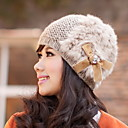 Women's Elastic Wool Leather Fur Bow Hat