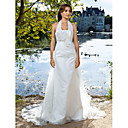Sheath/Column Halter Court Train Organza Wedding Dress