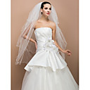 Four-tier Fingertip Pencil Edge Wedding Veil With Pearl