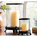 Harbor House - Glass and Iron Material  Hurricane Candle Holder