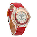 Women's PU Quartz Movement Glass Round Shape with Rhinestone Dress Watch(More Color)