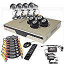 trs faible prix de 8ch h. 264 DVR CCTV kit (500GB HDD, 8 camras de vision nocturne CMOS)