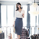 ALAN Tie Solid Color Mid Length Pencil Skirt (More Colors, Slim Fit)