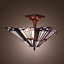 Tiffany Style Inverted Pyramid shaped Stained Glass Pendant Light with 2 Lights