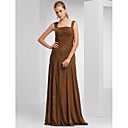 Sheath/Column Square Neckline Floor-length Chiffon Matte Satin Mother of the Bride Dress
