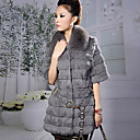 Turndown Collar Half Sleeve Rabbit Fur Evening Coat
