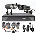 4 Noche aire libre Día CCTV Video Vigilancia Home Security Camera Kit