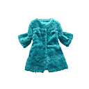 3/4 Sleeve Collarless Rex Rabbit Fur Casual/Party Coat (More Colors)