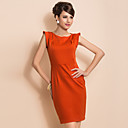 TS Chic Shoulder Design Simplicity Sleeveless Sheath Dress