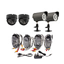 Day/Night Security Camera 4 Pack(2 Waterproof Outdoor Cameras & 2 Indoor Cameras)
