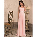 Sheath/Column Scoop Floor-length Chiffon Evening Dress With Beading