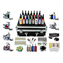 6 Guns Pro Complete Tattoo Kit Machine LCD Power Supply 15 Ink
