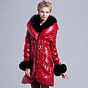 Long Sleeve Fox Fur Pillow Collar Lambskin Leather Casual/Party Coat (More Colors)
