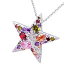 Star Shape Alloy Plating 23K Gold With Cubic Zirconia Women's Necklace(More Colors)