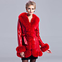 Awesome Long Sleeve Fox Fur Shawl Collar Lambskin Leather Casual/Party Coat (More Colors)