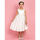 A-line Princess Jewel Tea-length Satin Flower Girl Dress With Bow