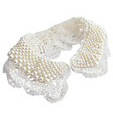 Adorable Doll's Pearl White Lace False Collar Necklace