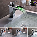 Contemporary Solid Brass Single Handle LED Waterfall Bathroom Sink Faucet Chrome Finish