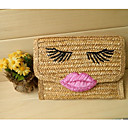 Women's Eyes Lip Woven Clutch Bag