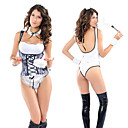 Super Sexy Black and White Polyester Maid Lingerie Costume(5 Pieces)