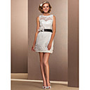 Sheath/Column Bateau Short/Mini Lace Wedding Dress