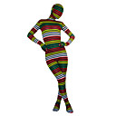 Green & Yellow & Red & White & Black Striped Spandex Lycra Zentai de corpo inteiro