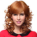 Capless Medium Curly Blonde 100% Human Hair Wigs