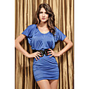 Women's Chic Drawstring Neckline Simple Blue Dress with Belt(Length:68cm Bust:86-102cm Waist:58-79 Hip:90-104cm)