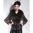 Beautiful Raccoon Fur Shawl Collar Lambskin Leather Casual/Party Vest (More Colors)