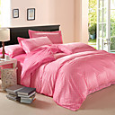 Modern Small White Dots Pink Velvet Full 4-Piece Duvet Cover Set