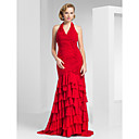 Trumpet/Mermaid Haulter Sweep/Brush Train Chiffon Evening Dress